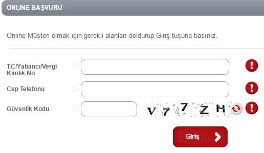 Ziraat Bankası Online Müşteri Olma Ekranı