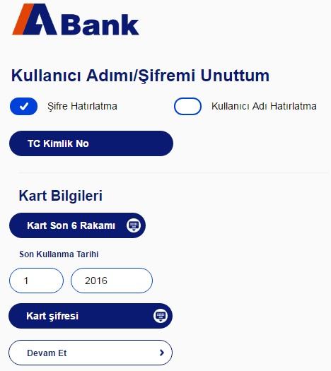 Abank şifremi unuttum sayfası