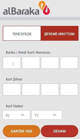 Albaraka Türk Şifremi Unuttum ekranı