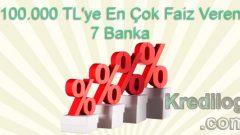 100.000 TL'ye En Çok Faiz Veren 7 Banka (2019 Güncel Faiz Oranları)