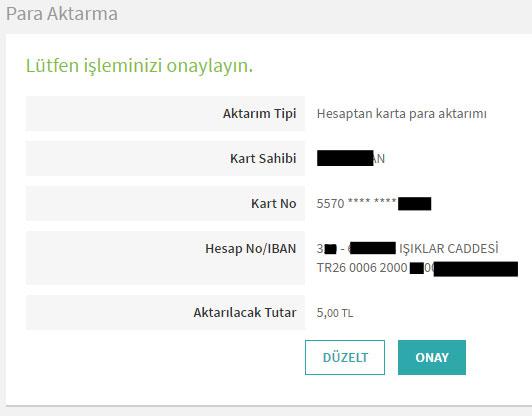 garanti bankası sanal kart para aktarma