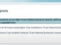 Ticari Cep Anahtar başvuru ekranı
