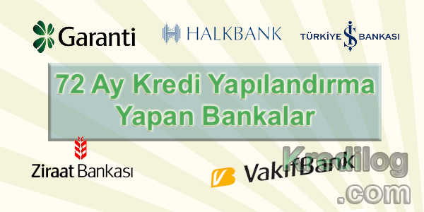 72 Ay Kredi Yapılandırma Yapan Bankalar