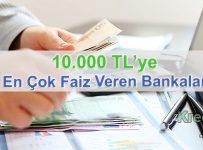 10.000 TL'ye En Çok Faiz Veren Bankalar