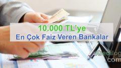 10.000 TL'ye En Çok Faiz Veren Bankalar (Güncel 2019 Oranları)