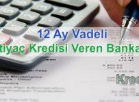 12 Ay Vadeli İhtiyaç Kredisi Veren Bankalar