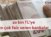 20 bin tlye en çok faiz veren bankalar