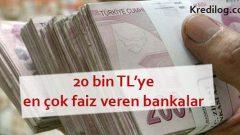 20.000 TL'ye En Çok Faiz Veren Bankalar (Güncel 2019 Oranları)