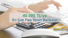 40.000 TL'ye En Çok Faiz Veren Bankalar (Güncel 2019 Oranları)
