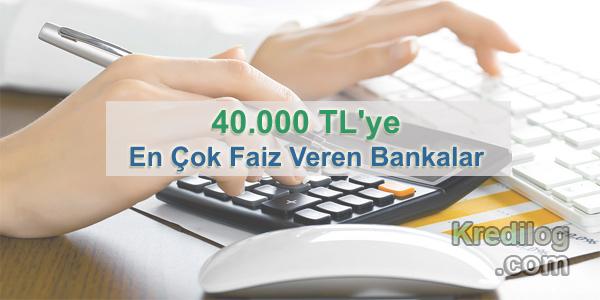 40.000 TL'ye En Çok Faiz Veren Bankalar