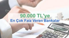 90.000 TL'ye En Çok Faiz Veren Bankalar (Güncel 2019 Oranları)