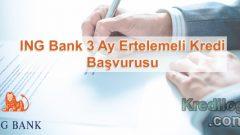 ING Bank 3 Ay Ertelemeli Kredi Başvurusu 2018
