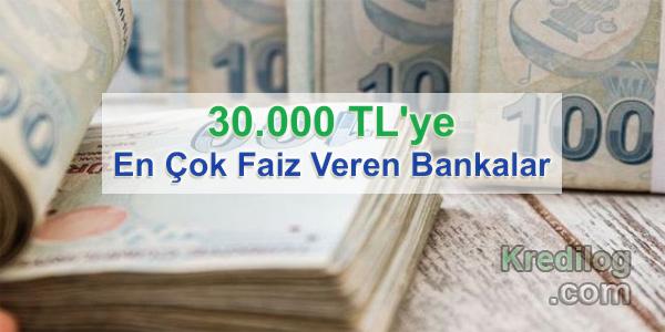 30.000 TL'ye En Çok Faiz Veren Bankalar