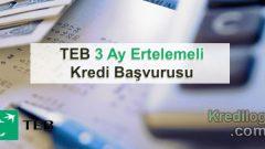TEB 3 Ay Ertelemeli Kredi Başvurusu 2018