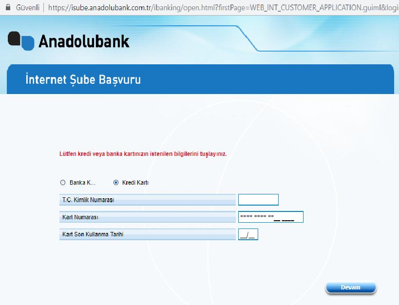 anadolu bank internet şube