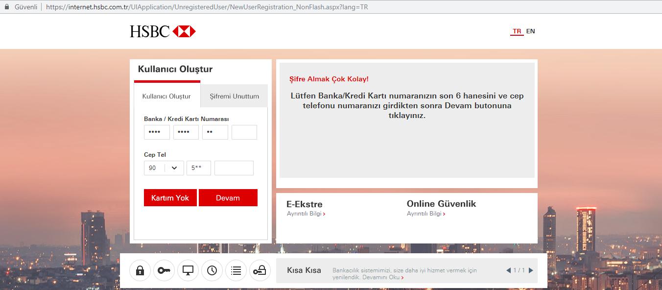 HSBC internet şube şifresi