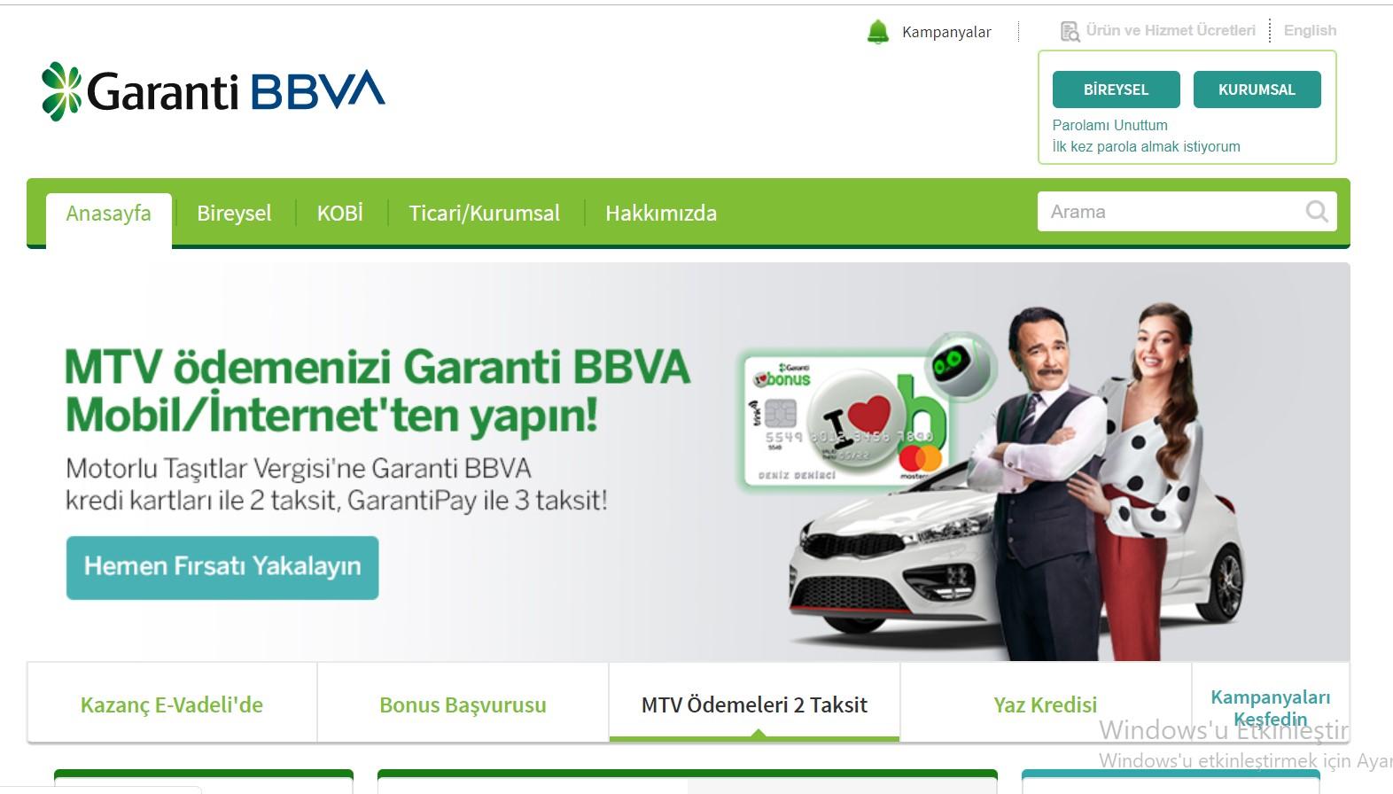 garanti bankası internet bankacılığına giriş