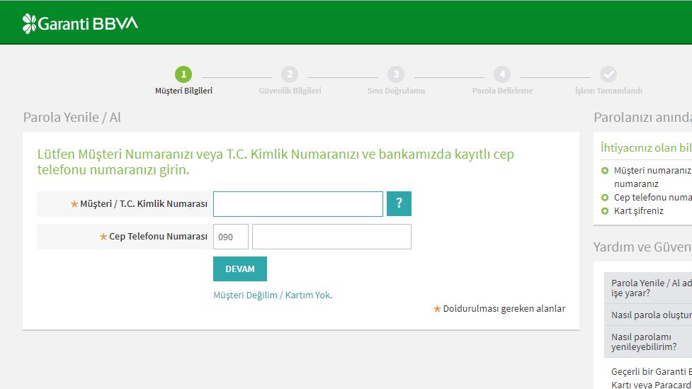 garanti bankası internet bankacılığı şifremi unuttum2