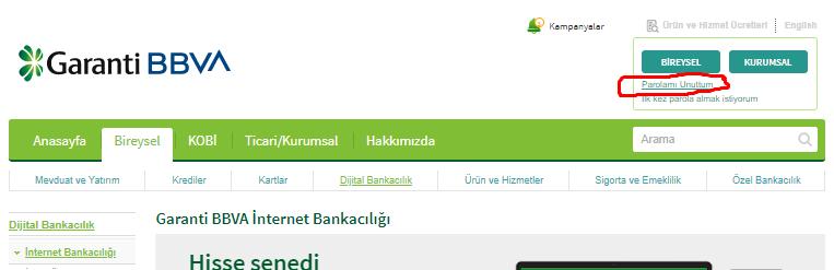 garanti bankası internet bankacılığı şifremi unuttum