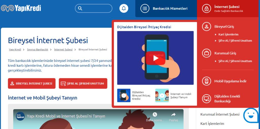 Yapı Kredi Bankası İnternet Bankacılığı - Ekran Alintisi2 1